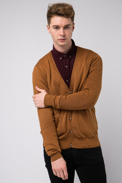 Deep V-Neck Basic Cardigan