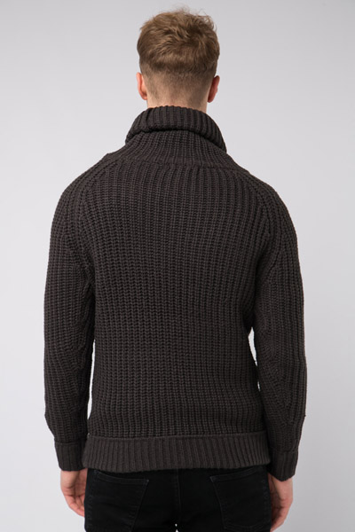 Thick Knit Rib Roll Neck Jumper
