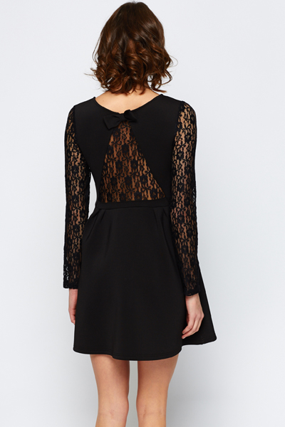 Embellished Laced Sleeve Skater Dress