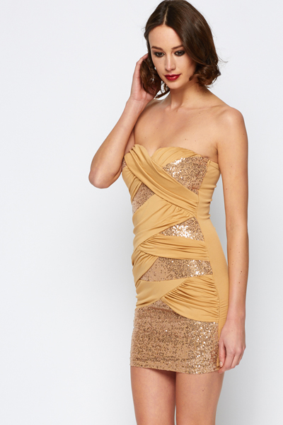 Sequin Ruched Bandeau Dress