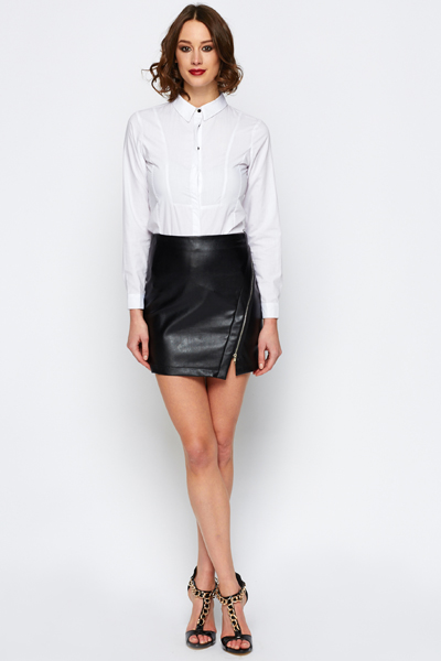 Zip Front Faux Leather Skirt - Just £5