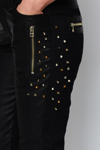 Studded PU Panel Trousers