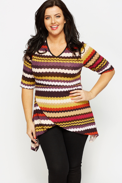 Multi Tribal Stripe Asymmetric Tunic