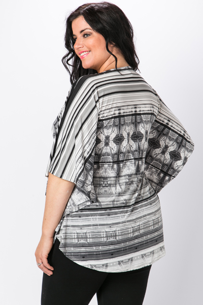 Mono Striped Patterned Batwing Top