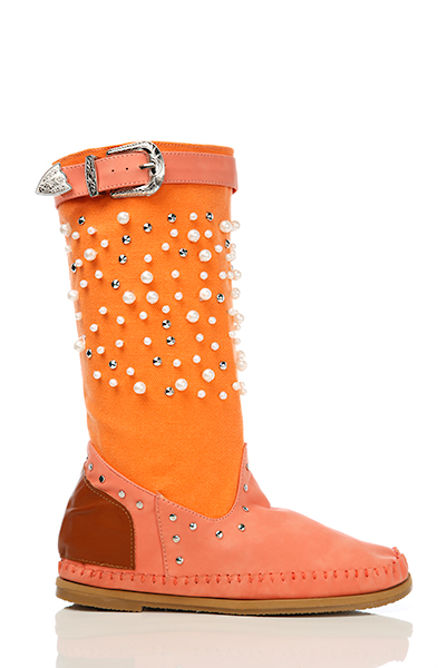 Pear Beads Embellished Canvas Summer Boots