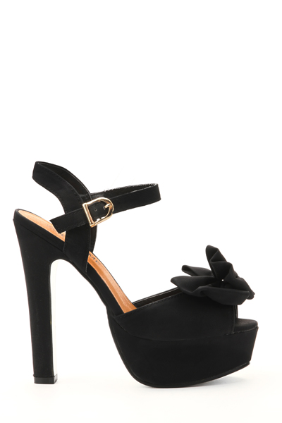 Double Layered Bow Ankle Strap Heels