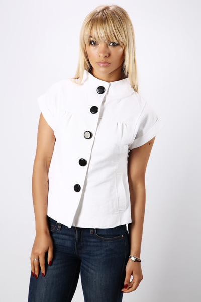Short Sleeve Button Front Jacket