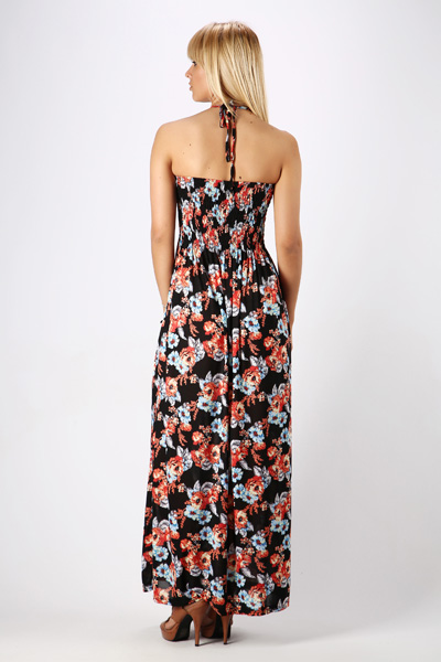 Beaded Halterneck Floral Maxi Dress