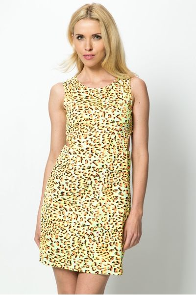 Cut-Out Bright Leopard Print Dress