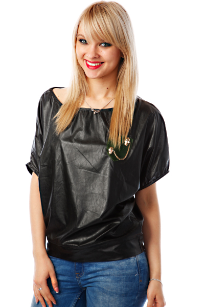 Skulls Embellished Pocket Faux Leather Top