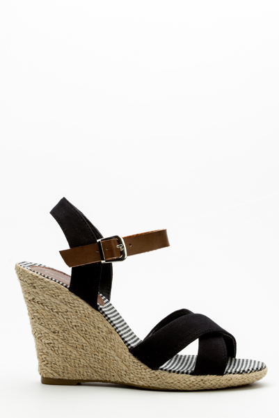 Crossover Strap Wedge Sandals