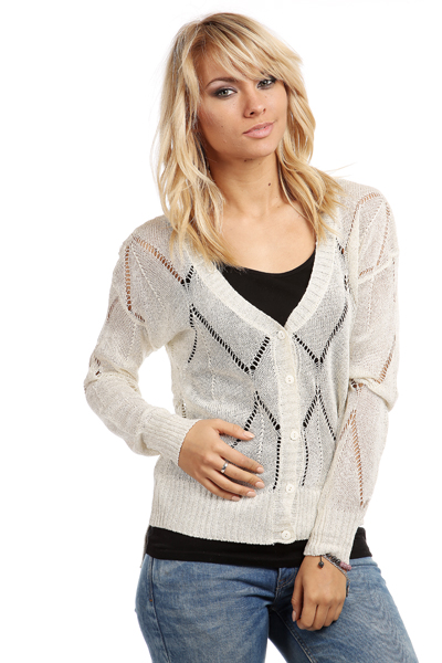 Perforated Metallic Blend Cardigan