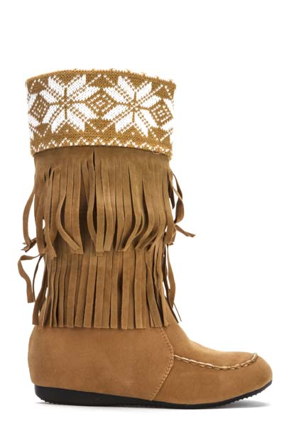 Fairisle Fringed Boots