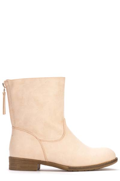 Zip Back Faux Leather Boots