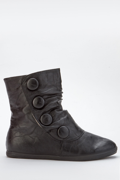Button Imitation Ruched Ankle Boots