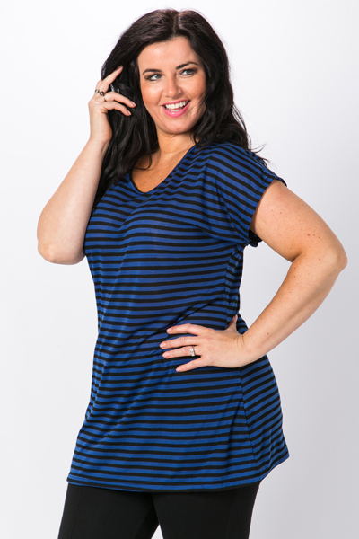 Two Tone Stripe Tunic Top