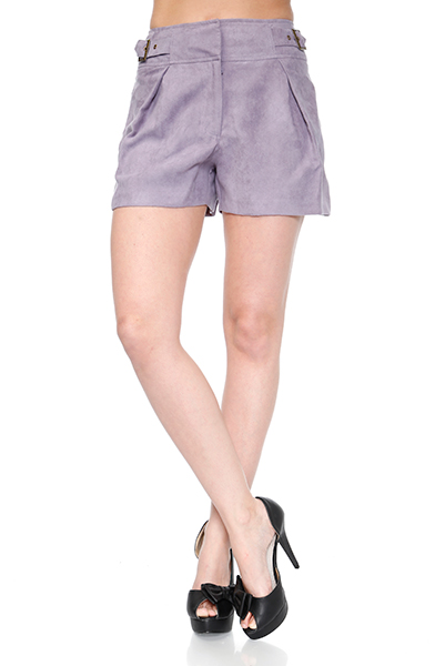 Double Buckles Velour Shorts