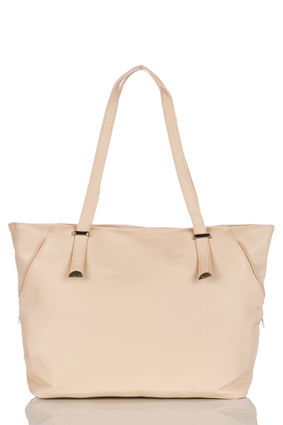 Faux Leather Metal Strap Tote Bag