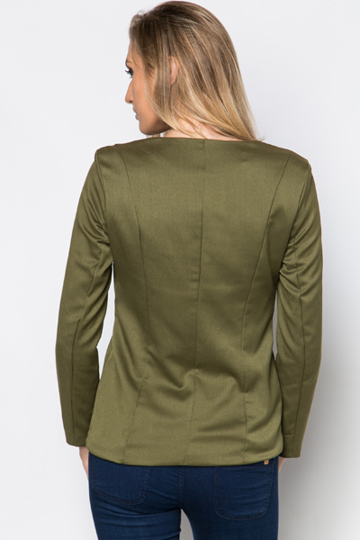 Embellished Trim Zip Front Jacket