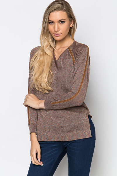 Metallic Knit Pullover