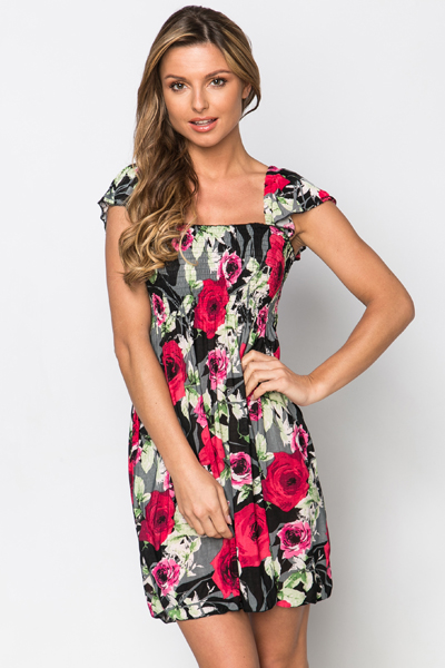 Shirred Bodice Floral Dress
