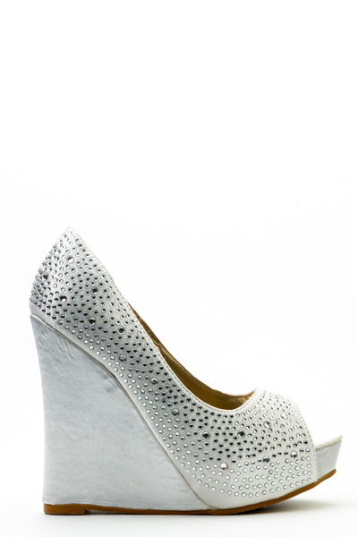 Diamante Peep Tow Wedge Shoes