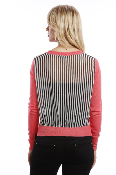 Sheer Stripe Back Cardigan