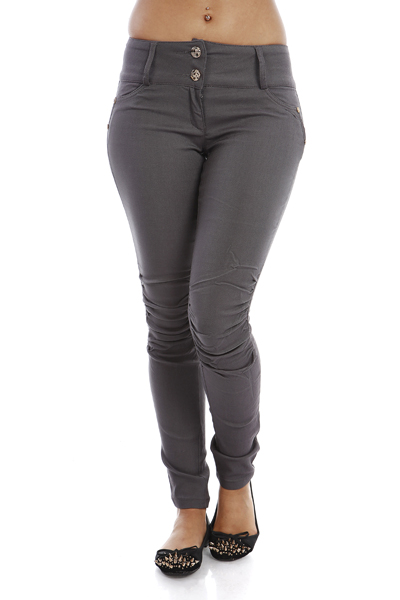 Ruched Knee High Waist Skinny Trousers