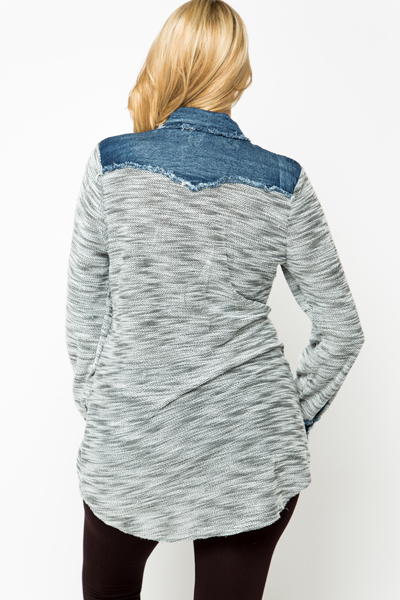 Speckle Knit Denim Trim Blouse