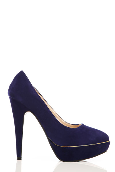 Gold Piping Velour Court Shoes