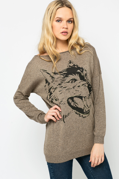 Glitter Wolf Print Pullover