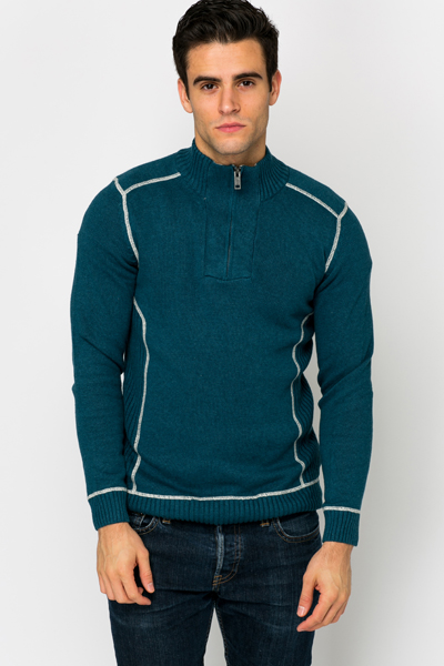 High Neck Zip Trim Pullover