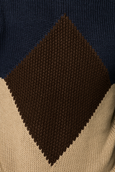Colour Block Diamond Knit Jumper