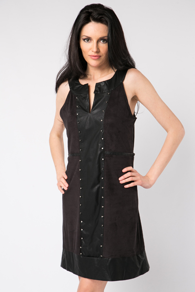 Stud Embellished Suedette Dress
