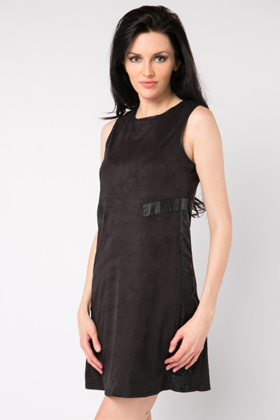 Faux Leather Trim Suedette Dress