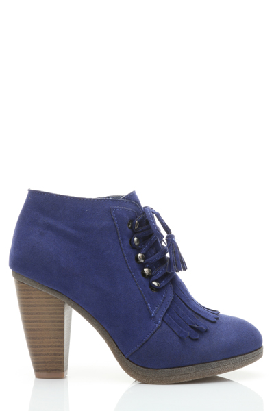 Tasselled Tie Up Wooden Heel Ankle Boots
