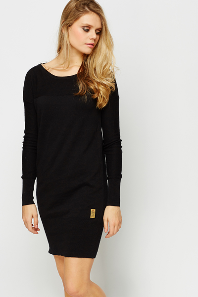 Rib Trim Jumper Dress