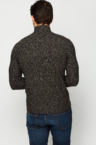 Button Neck Speckled Jumper