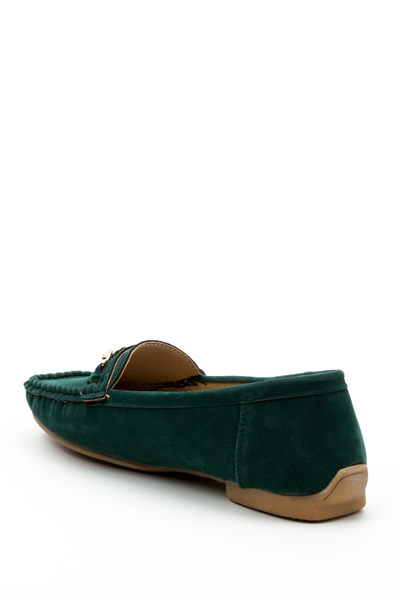 Chain Trim Green Loafers