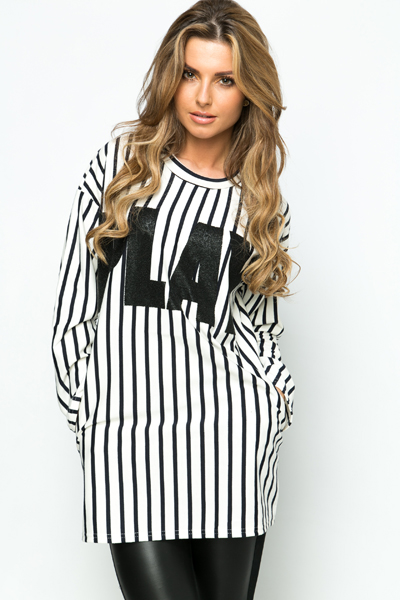 Striped Play Slogan Top