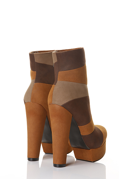 Mixed Matte Faux Leather Panels Boots