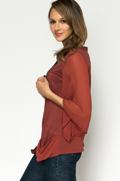 Sheer Sleeve Open Front Cardigan