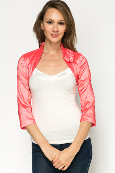 Pleat Rose Embellished Shrug