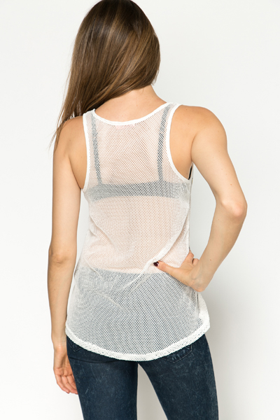 Mesh Net Sequin Slogan Top