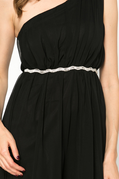 One Shoulder Embellished Trim Dress