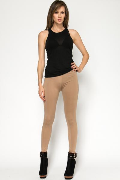 Cotton Blend Brown Leggings