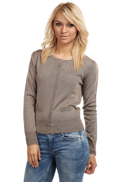 Metallic Blend Button Front Cardigan