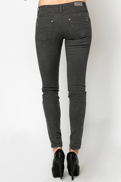 Stud Pockets Denim Trousers