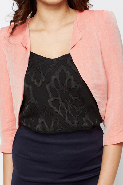 Open Front Crop Blazer Jacket