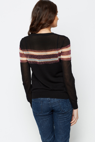 Metallic Stripe Trim Pullover